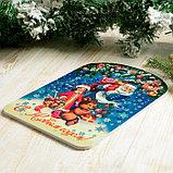 """Доска разделочная сувенирная """"С Новым годом. Дед Мороз, Снегурочка и мишка"""", 27,5х19,5см, фото 2"""