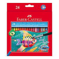 Карандаши акварельные, шестигранные, Рыбки, с кисточкой, 24 цвета, в картонной коробке.