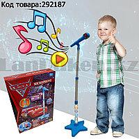 Микрофон детский музыкальный на стойке с подсветкой Cars 3 с USB-разъемом на батарейках синего цвета