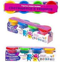 "Набор для лепки Genio Kids ""Тесто-пластилин. Светящееся в темноте!"", 4 цвета, картон, пленка"