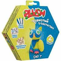 """Набор для лепки: пушистый пластилин """"Plush"""" 2цв.*80г (синий, желтый), дерев. детали, стеки"""
