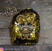 Кошелек для девочек с карабином и кольцом. Материал: Ткань. Цвет: Желтый.