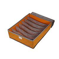 Органайзер для нижнего белья с крышкой 7 отделений оранжевый, фото 1
