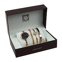 Часы в подарочной упаковке Anne Klein, цвет розово-золотистый + черный