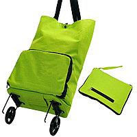 Складная сумка для покупок на колесиках зеленая, фото 1