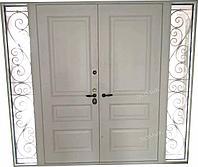 Металлические двухстворчатые двери с ковкой и стеклом