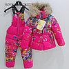 Цветочная куртка и комбинезон для девочек Moncler. Цвет розовый