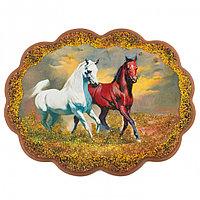 "Панно ""Две лошади"" 34х26 см каменная крошка"