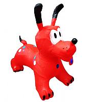 Прыгун Собачка надувной резиновый красный, фото 1