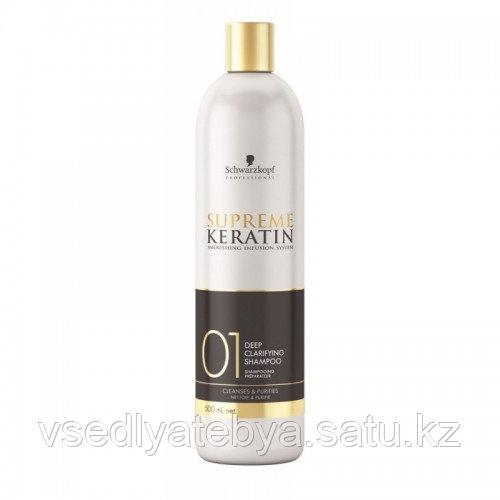 Шампунь кератиновое выпрямление глубокой очистки  Supreme Keratin Deep Clarifying Shampoo 500 мл (шаг 1)