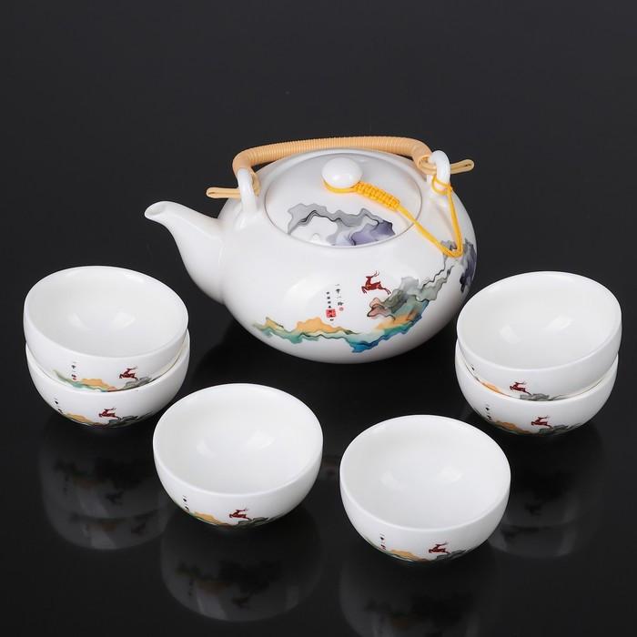 """Набор для чайной церемонии """"Олененок"""", 7 предметов: чайник 700 мл, чашка 80 мл"""