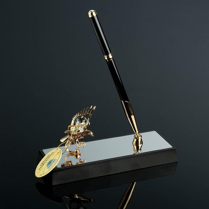 Ручка на подставке «Орёл», 16×6×19 см, с кристаллами Сваровски