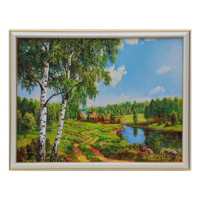 """Картина """"Две берёзки у реки"""" 30х40 см"""
