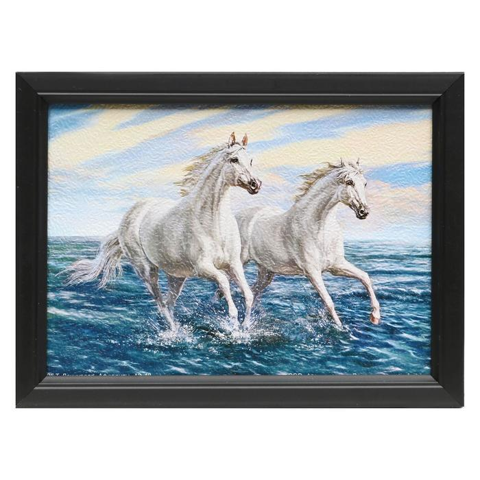 """Картина """"Два белых коня"""" 23х18 см"""