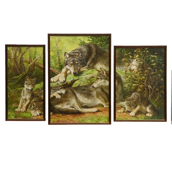 "Модульная картина ""Волчья семья"" 30х45(2),40х60, 60х100 см"