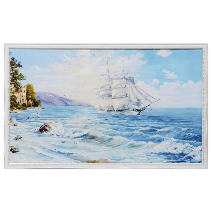 "Картина ""Корабль в море"" 64х104 см"