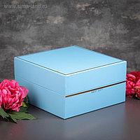 Коробка подарочная с откидной крышкой, голубая, 28 х 28 х 15 см