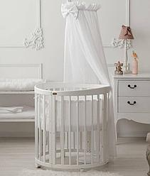 Кроватка детская Bambini овальная М 01.10.14 Белый