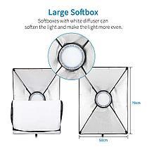 3 х Софтбокс комплекта 50×70 с LED лампой с теплым и холодным светом + сумка, фото 2