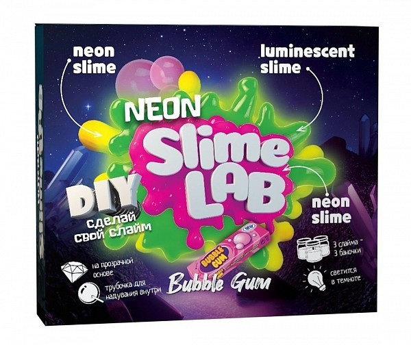 """Slime Lab Набор для опытов """"Сделай Неоновый слайм"""" - Жвачка Бабл гам"""
