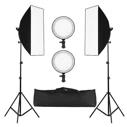 2 х Софтбокс комплекта 50×70 с LED лампой с теплым и холодным светом + сумка, фото 2