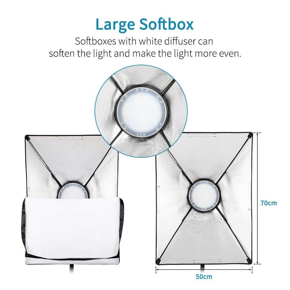 2 х Софтбокс комплекта 50×70 с LED лампой с теплым и холодным светом + сумка - фото 3