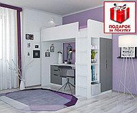 Кровать чердак Polini Simple белый/серый