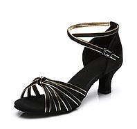 Туфли бальные черно-золотые (узел) Размеры: 36-40