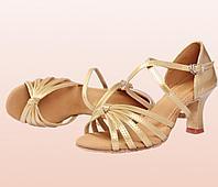 Туфли для бальных танцев (взрослые) с креплением ремешка на подошве. Цвет: золото