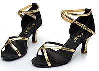 Туфли для бальных танцев (взрослые) чёрно-золотые.