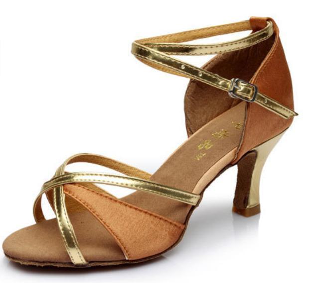 Туфли для бальных танцев (взрослые) бежево-золотые. - фото 2