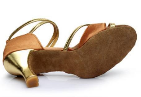 Туфли для бальных танцев (взрослые) бежево-золотые. - фото 3