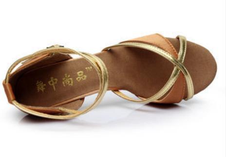 Туфли для бальных танцев (взрослые) бежево-золотые. - фото 4