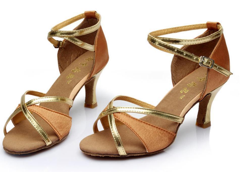 Туфли для бальных танцев (взрослые) бежево-золотые. - фото 1