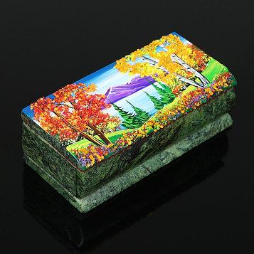 "Ларец ""Осень"" 15х7х5,5 см, каменная крошка, змеевик"