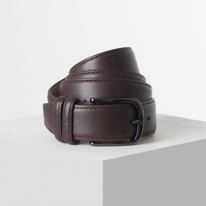 Ремень женский ширина - 3,5 см, пряжка темный металл, цвет коричневый