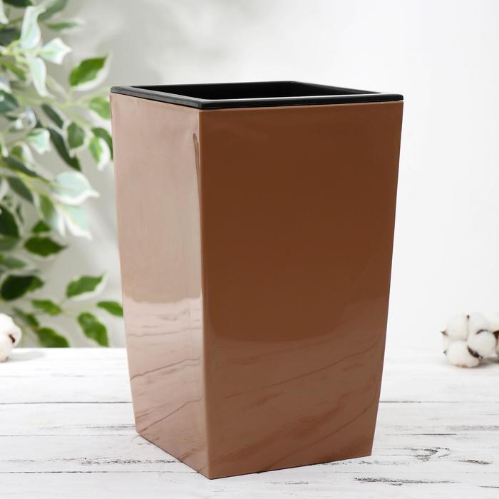 Кашпо со вставкой «Жасмин», 1,5 л, 16×16×26 см, цвет карамельный