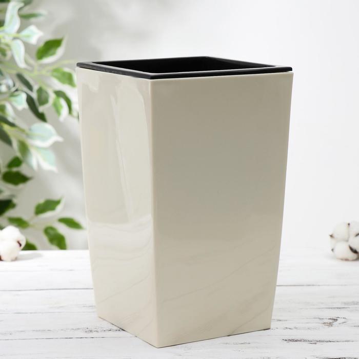 Кашпо со вставкой «Жасмин», 1,5 л, 16×16×26 см, цвет бежевый