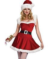 Женский взрослый сексуальный новогодний костюм милашка миссис Клаус