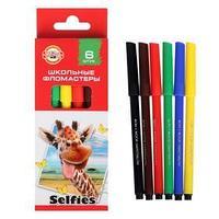Фломастеры 6 цветов Koh-I-Noor 1002 SELFIES, смываемые, картонная упаковка с европодвесом