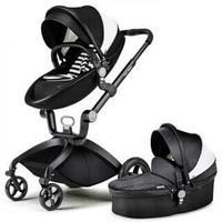 Детская коляска 2в1 Hot Mom F22 Черно-белая Экокожа