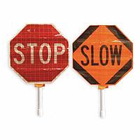 Roll Up Paddle Kit, Stop/Slow, Vinyl Sign Material / Складной ручной дорожный знак