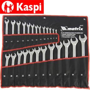 Набор ключей комбинированных, 6-32 мм, 25 шт, CrV, матовый хром Matrix