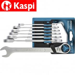 Набор ключей комбинированных трещоточных, количество зубьев 100, СRV, 7 шт, 8-19 мм Gross