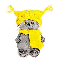 Котик Басик Baby в шапке-сова и шарфе ВВ-030