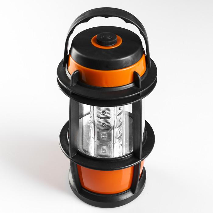 Фонарик переносной, в виде лампы, чёрно-оранжевый, (батарека size D 1.5v-3 шт)  22.5х12 см