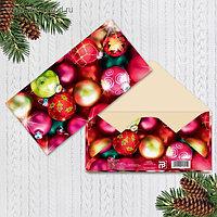Конверт для денег без эффектов «С новым годом», шары, 16,5 × 8 см