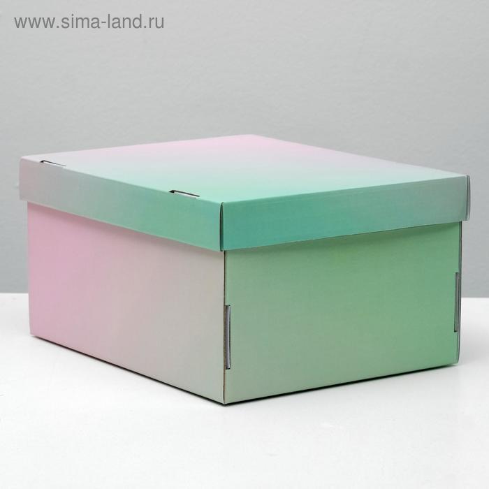 """Складная коробка, """"Градиент"""", розово-зеленый, 31,2 х 25,6 х 16,1 см - фото 1"""