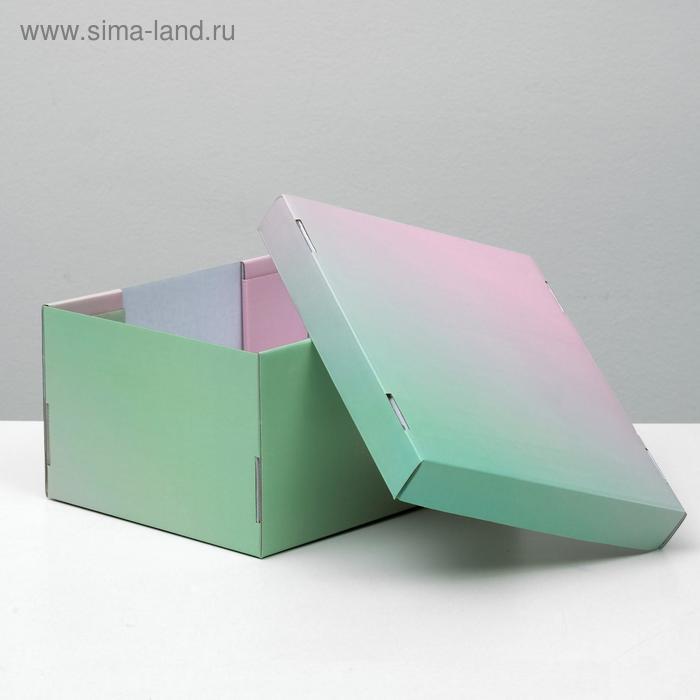 """Складная коробка, """"Градиент"""", розово-зеленый, 31,2 х 25,6 х 16,1 см - фото 2"""