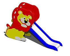 Горка детская, маленькая, в виде льва